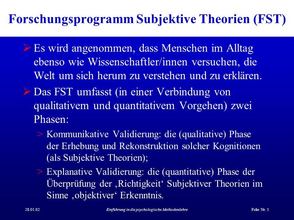 Forschungsprogramm Subjektive Theorien (FST)