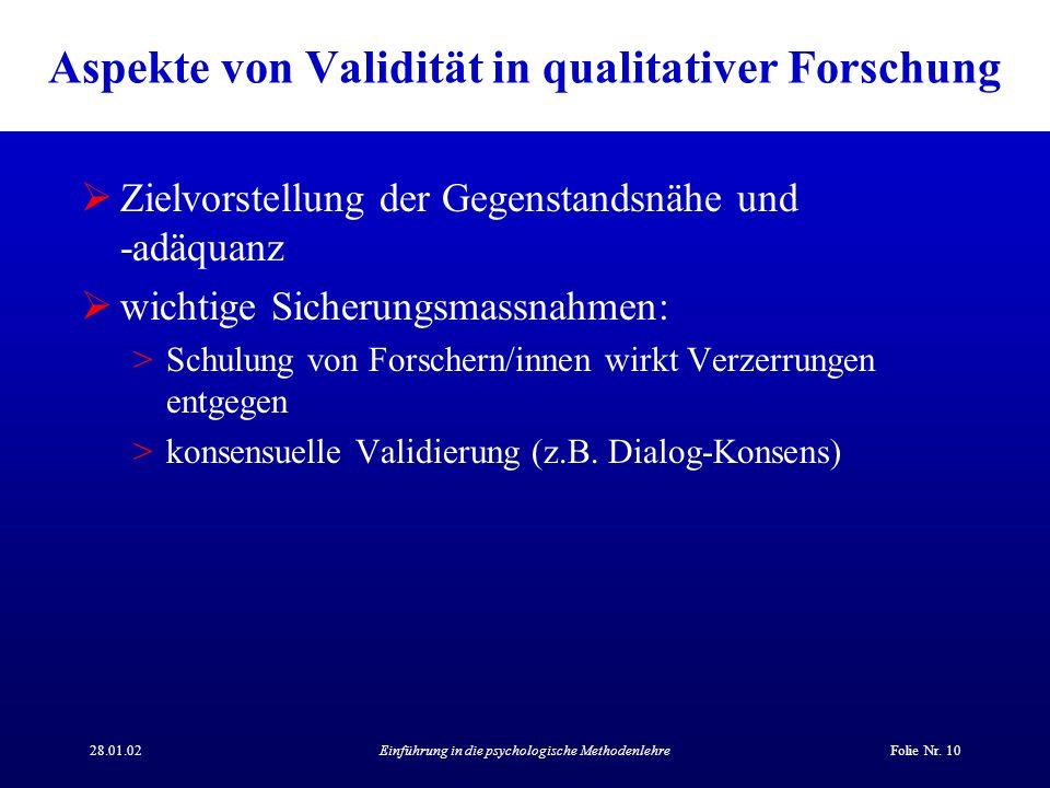Aspekte von Validität in qualitativer Forschung