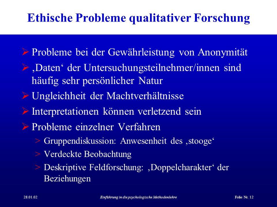 Ethische Probleme qualitativer Forschung