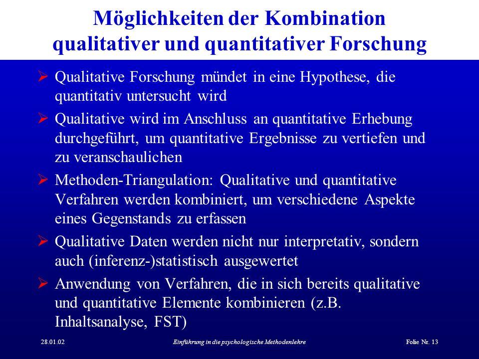 Möglichkeiten der Kombination qualitativer und quantitativer Forschung