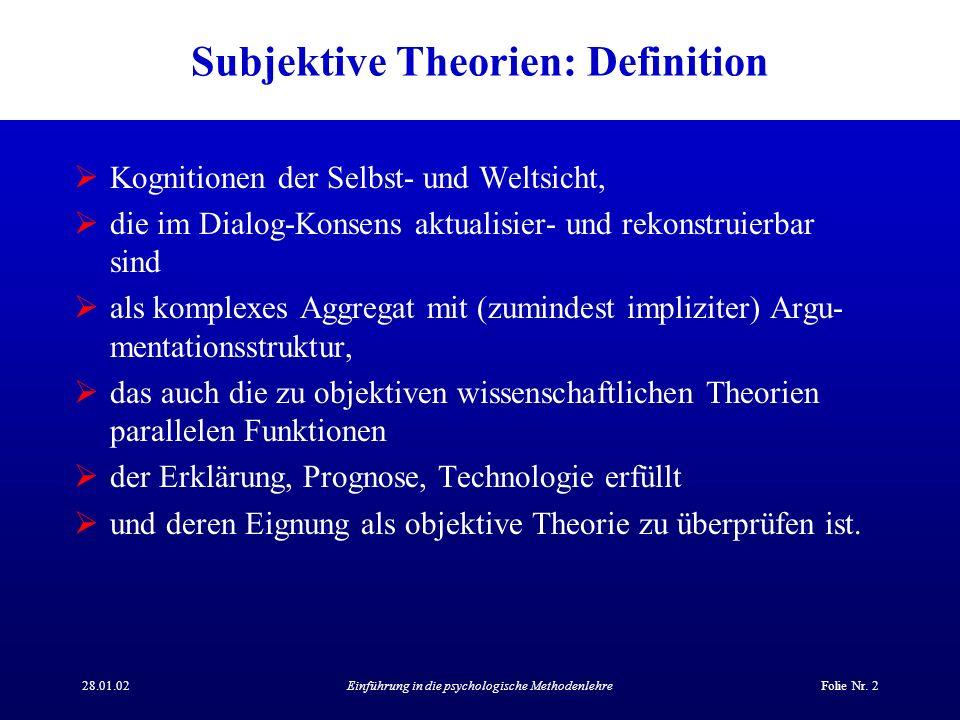 Subjektive Theorien: Definition