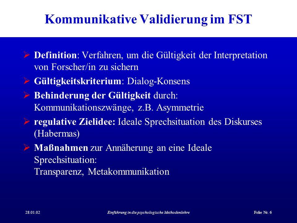 Kommunikative Validierung im FST