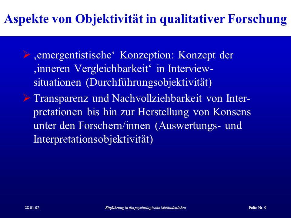 Aspekte von Objektivität in qualitativer Forschung