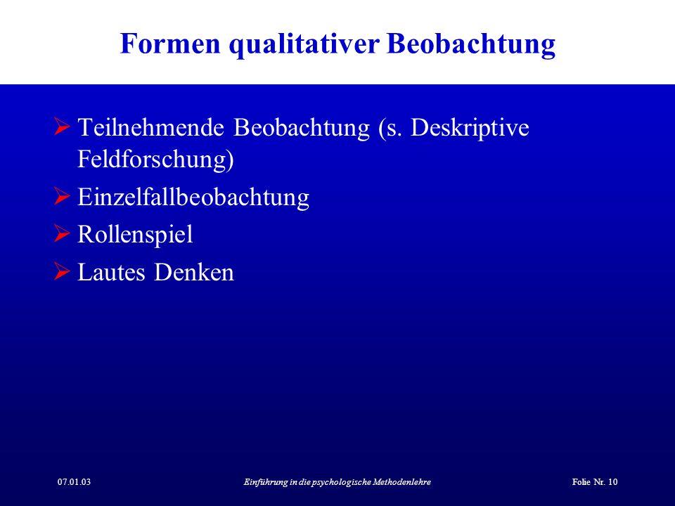 Formen qualitativer Beobachtung