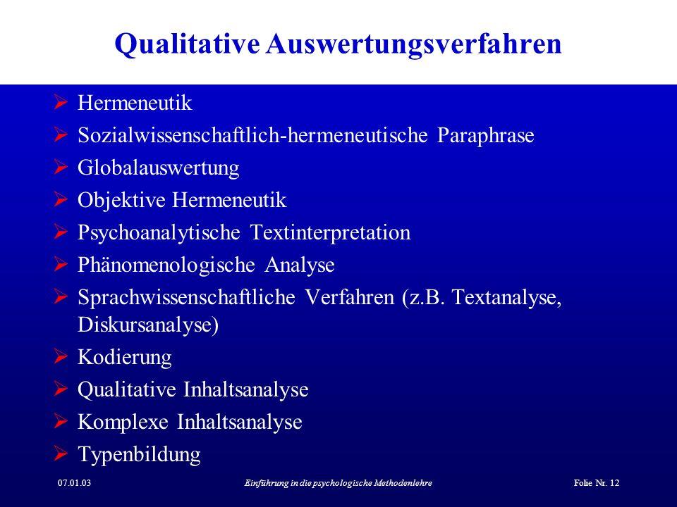 Qualitative Auswertungsverfahren