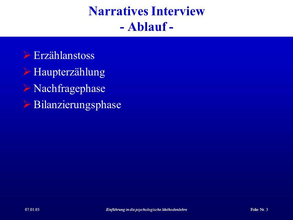 Narratives Interview - Ablauf -