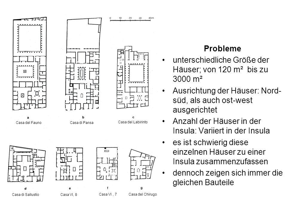 unterschiedliche Größe der Häuser; von 120 m² bis zu 3000 m²