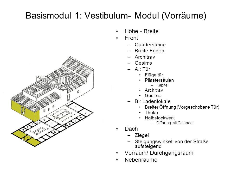Basismodul 1: Vestibulum- Modul (Vorräume)