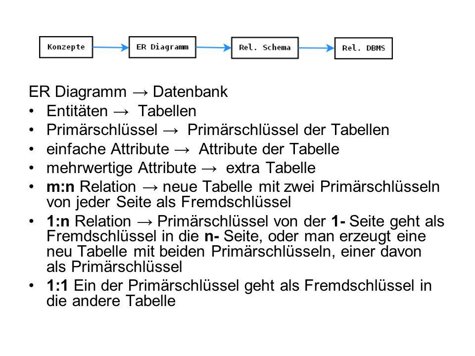 ER Diagramm → Datenbank