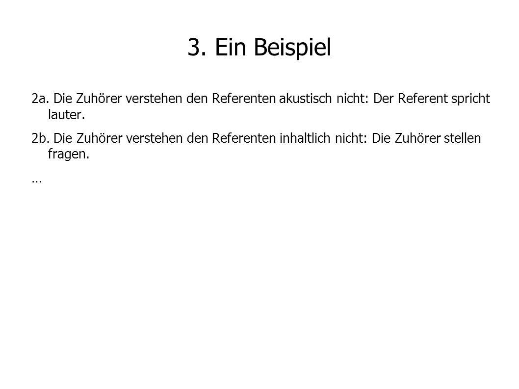3. Ein Beispiel 2a. Die Zuhörer verstehen den Referenten akustisch nicht: Der Referent spricht lauter.
