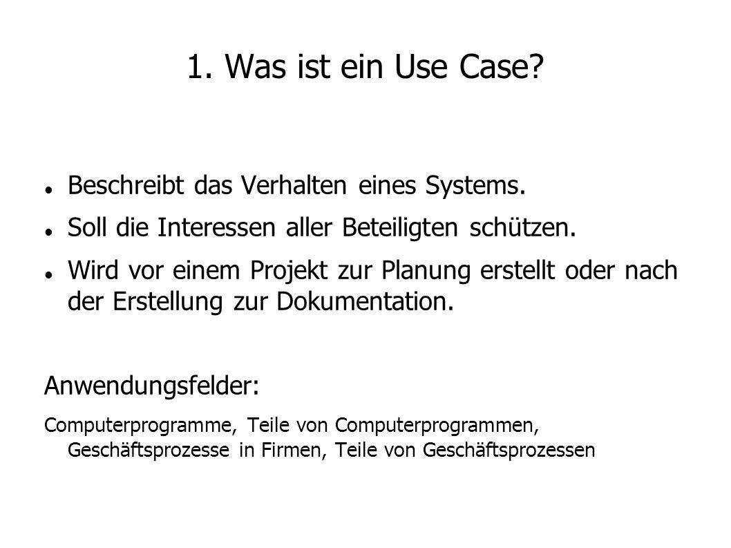 1. Was ist ein Use Case Beschreibt das Verhalten eines Systems.