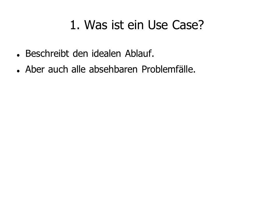 1. Was ist ein Use Case Beschreibt den idealen Ablauf.