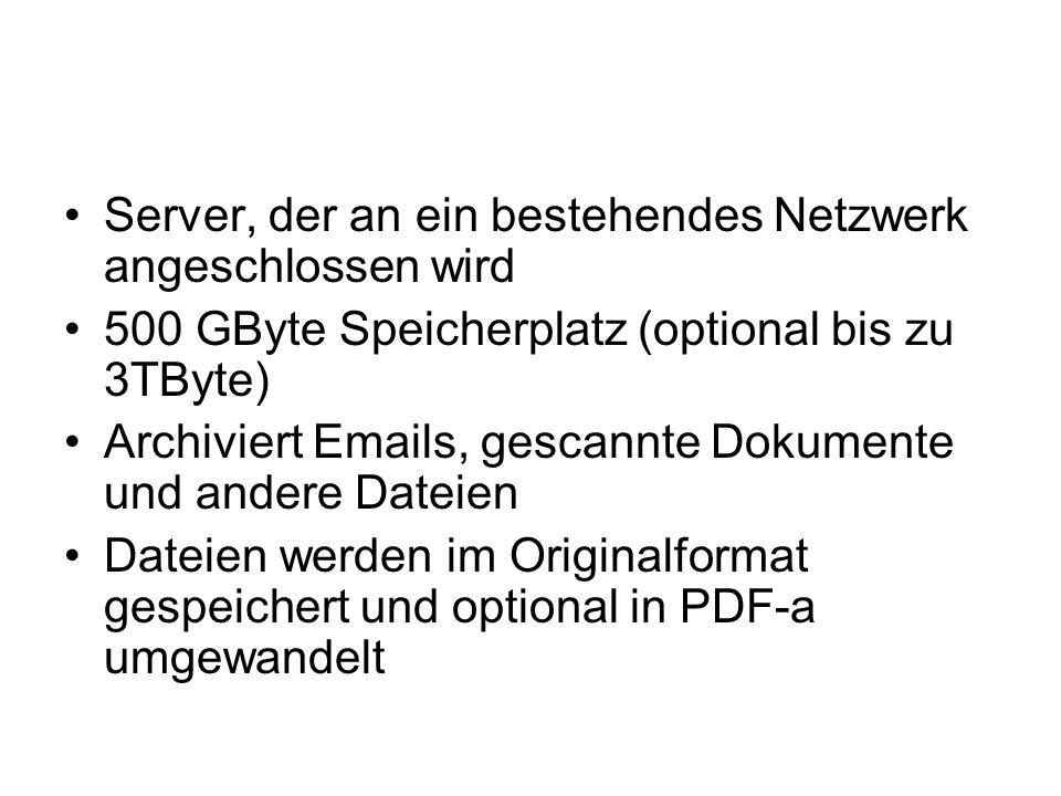 Server, der an ein bestehendes Netzwerk angeschlossen wird