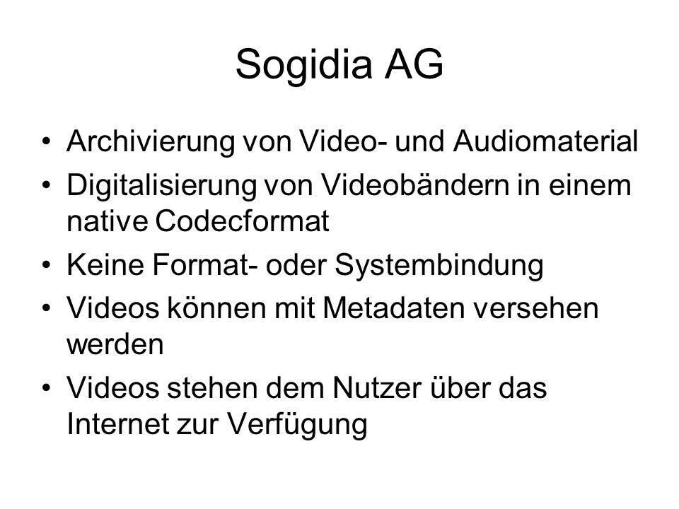 Sogidia AG Archivierung von Video- und Audiomaterial