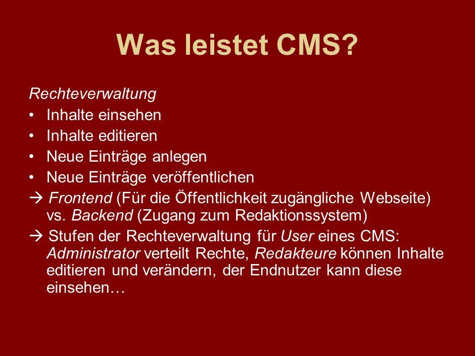 Was leistet CMS Rechteverwaltung Inhalte einsehen Inhalte editieren