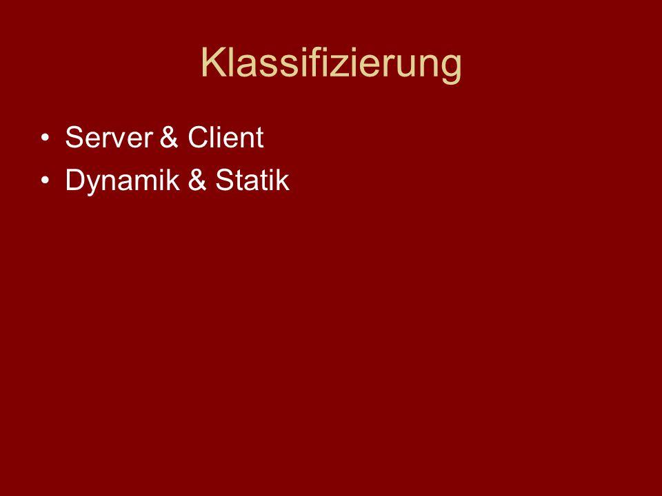 Klassifizierung Server & Client Dynamik & Statik