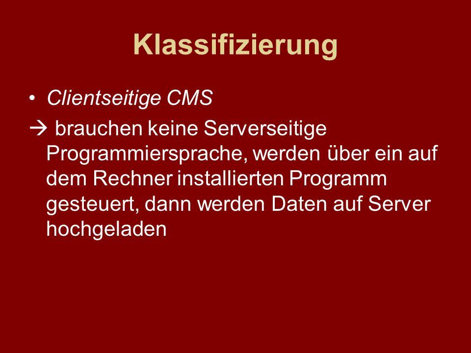 Klassifizierung Clientseitige CMS