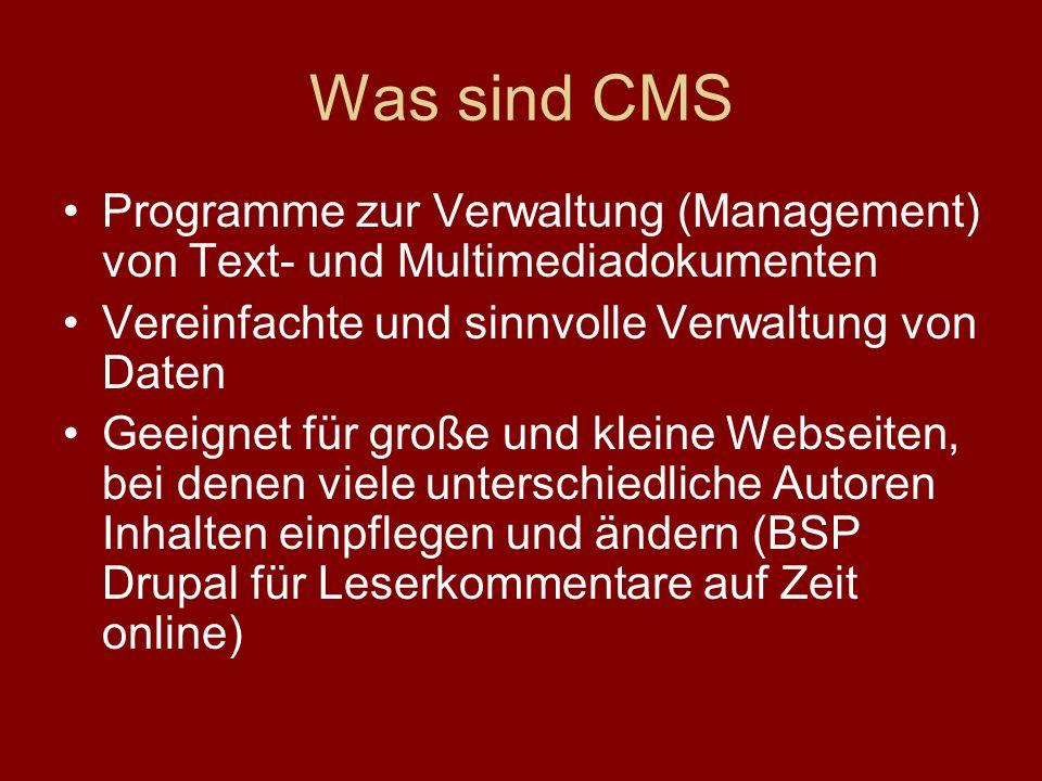 Was sind CMS Programme zur Verwaltung (Management) von Text- und Multimediadokumenten. Vereinfachte und sinnvolle Verwaltung von Daten.