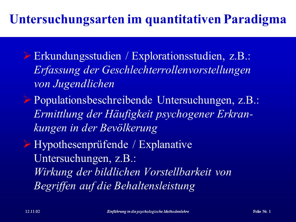 Untersuchungsarten im quantitativen Paradigma