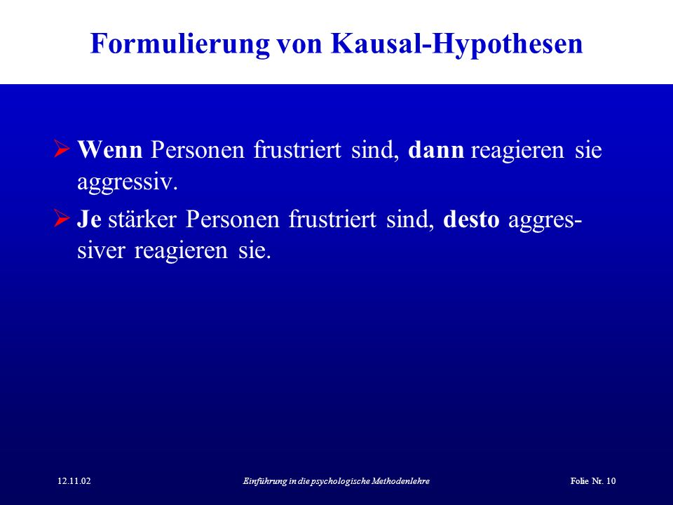 Formulierung von Kausal-Hypothesen