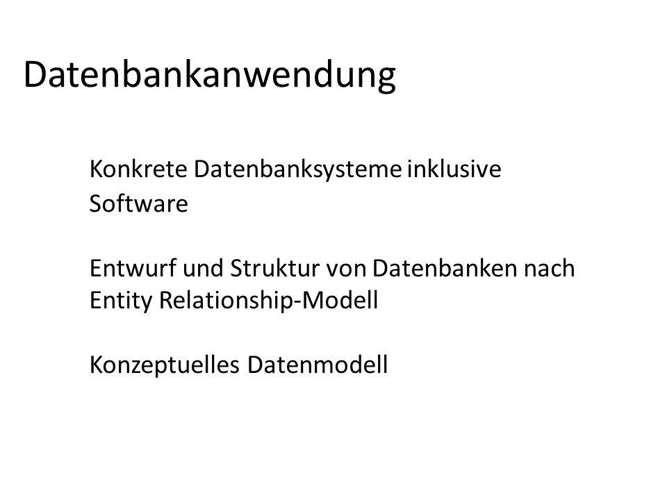 Datenbankanwendung. Konkrete Datenbanksysteme inklusive. Software