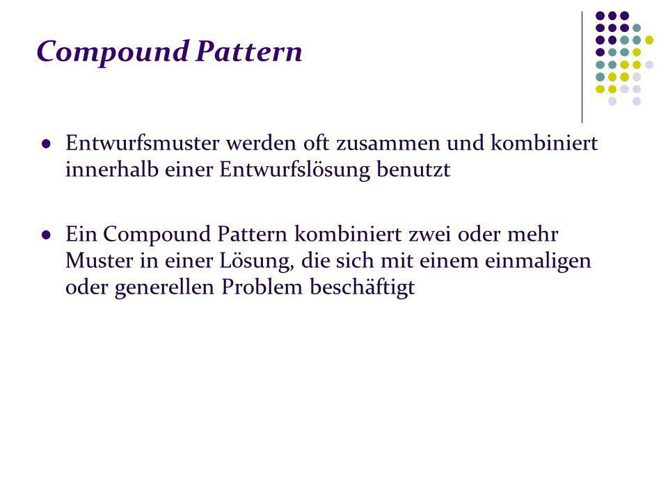 Compound Pattern Entwurfsmuster werden oft zusammen und kombiniert innerhalb einer Entwurfslösung benutzt.