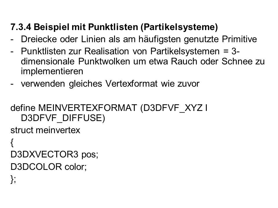 7.3.4 Beispiel mit Punktlisten (Partikelsysteme)