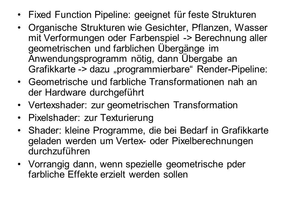 Fixed Function Pipeline: geeignet für feste Strukturen