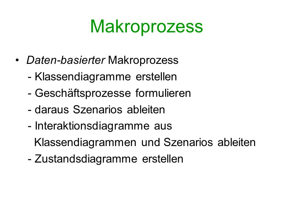 Makroprozess Daten-basierter Makroprozess - Klassendiagramme erstellen