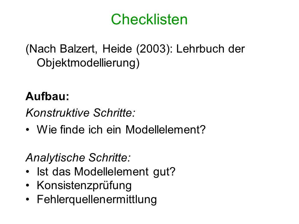 Checklisten (Nach Balzert, Heide (2003): Lehrbuch der Objektmodellierung) Aufbau: Konstruktive Schritte: