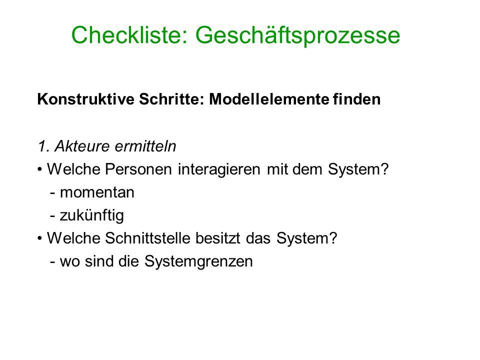 Checkliste: Geschäftsprozesse