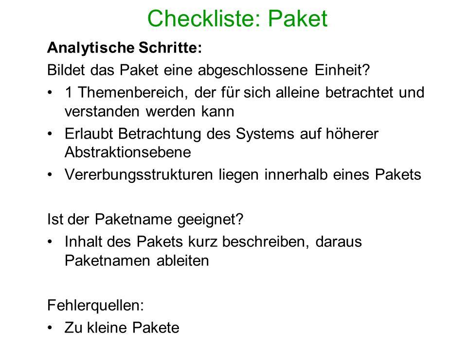 Checkliste: Paket Analytische Schritte: