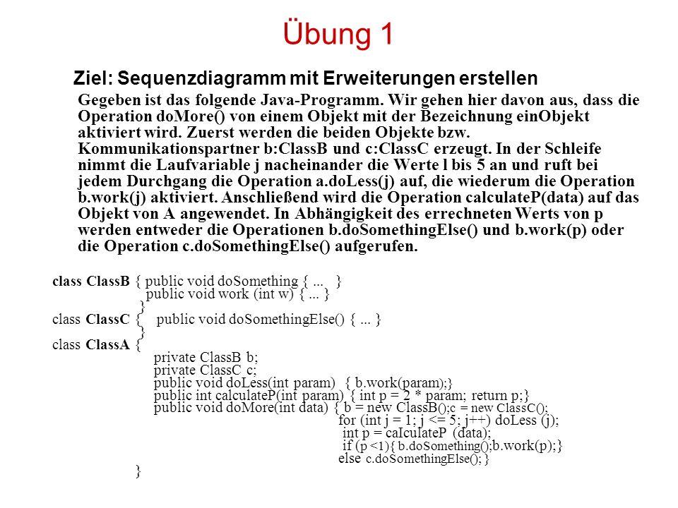 Übung 1 Ziel: Sequenzdiagramm mit Erweiterungen erstellen