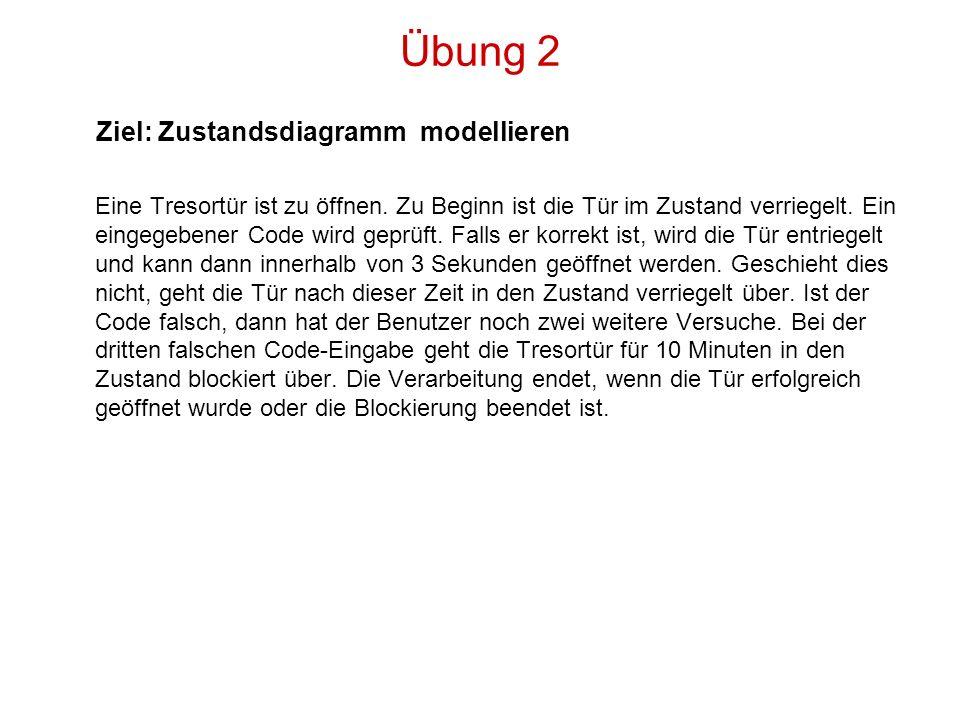 Übung 2 Ziel: Zustandsdiagramm modellieren
