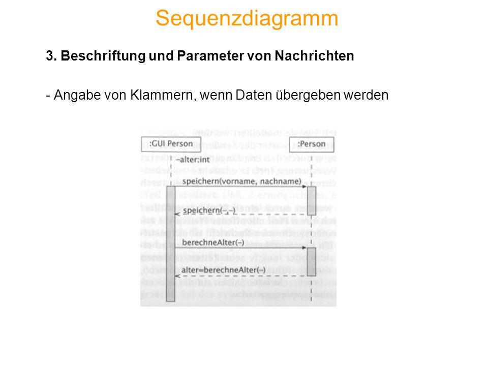 Sequenzdiagramm 3. Beschriftung und Parameter von Nachrichten