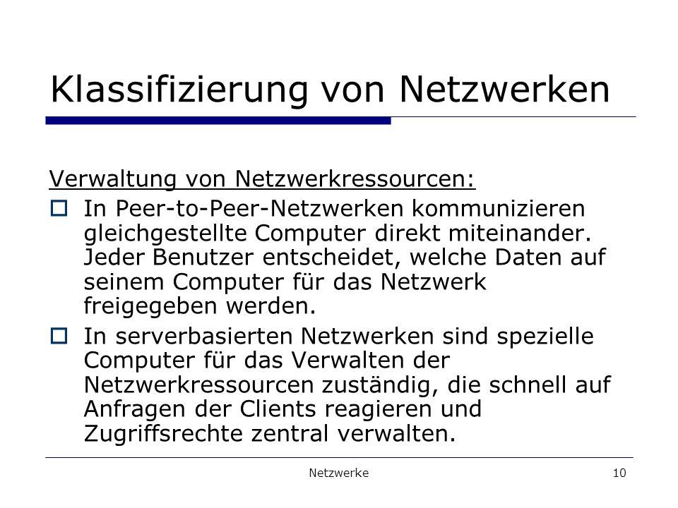 Klassifizierung von Netzwerken