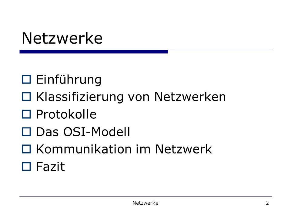 Netzwerke Einführung Klassifizierung von Netzwerken Protokolle
