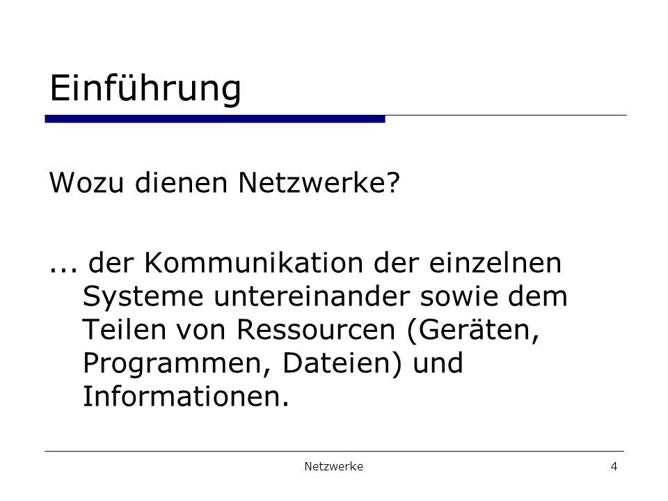Einführung Wozu dienen Netzwerke