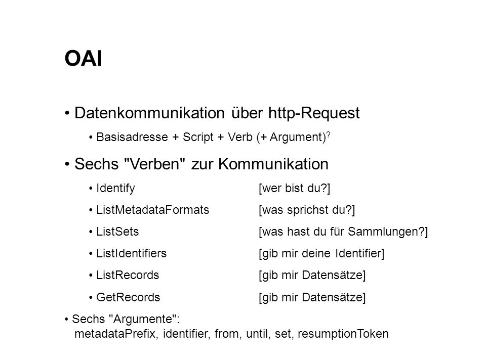 OAI Datenkommunikation über http-Request