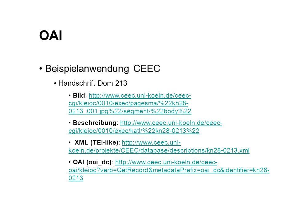 OAI Beispielanwendung CEEC Handschrift Dom 213