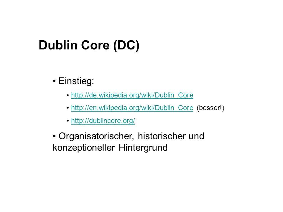 Dublin Core (DC) Einstieg: