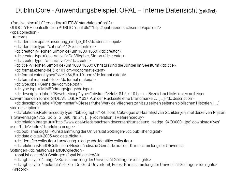 Dublin Core - Anwendungsbeispiel: OPAL – Interne Datensicht (gekürzt)