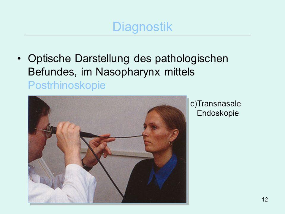 DiagnostikOptische Darstellung des pathologischen Befundes, im Nasopharynx mittels Postrhinoskopie.