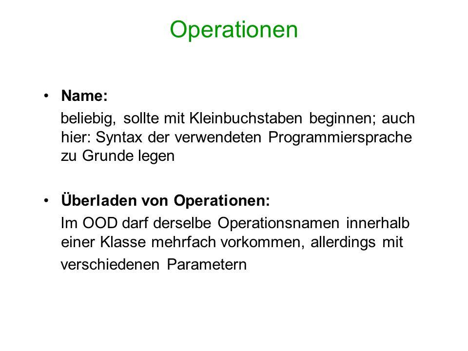 Operationen Name: beliebig, sollte mit Kleinbuchstaben beginnen; auch hier: Syntax der verwendeten Programmiersprache zu Grunde legen.