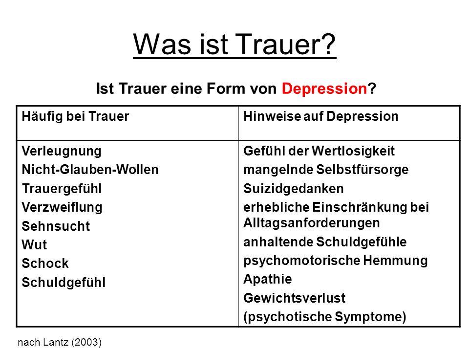 Ist Trauer eine Form von Depression