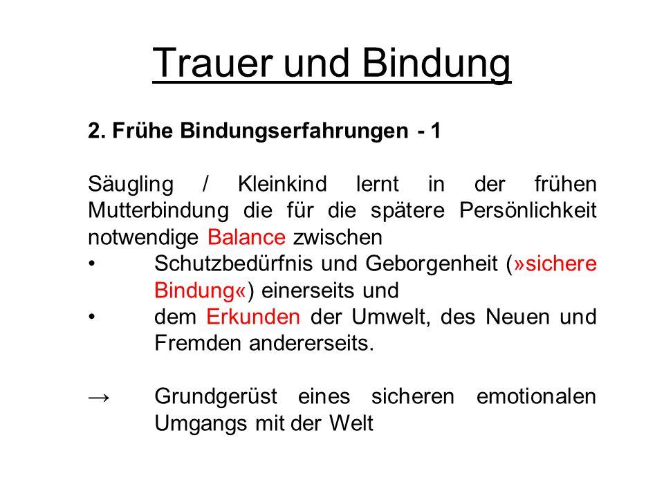 Trauer und Bindung 2. Frühe Bindungserfahrungen - 1