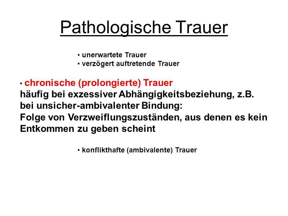 Pathologische Trauer unerwartete Trauer. verzögert auftretende Trauer. chronische (prolongierte) Trauer.