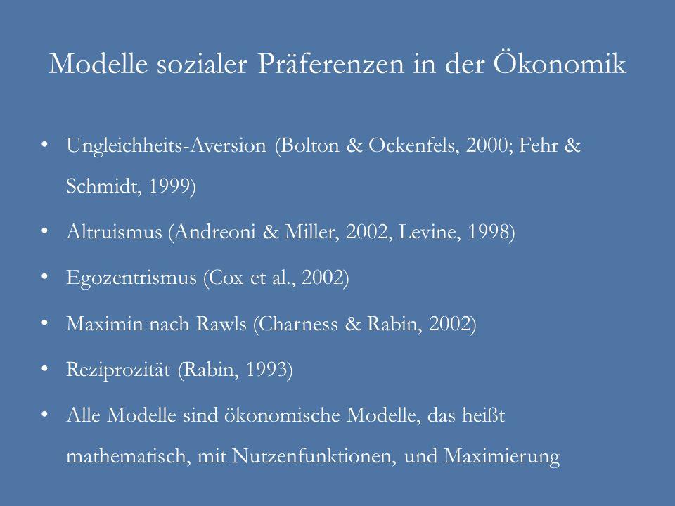 Modelle sozialer Präferenzen in der Ökonomik