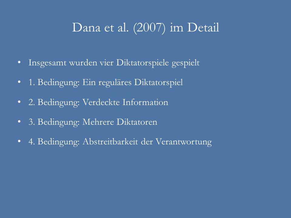 Dana et al. (2007) im DetailInsgesamt wurden vier Diktatorspiele gespielt. 1. Bedingung: Ein reguläres Diktatorspiel.