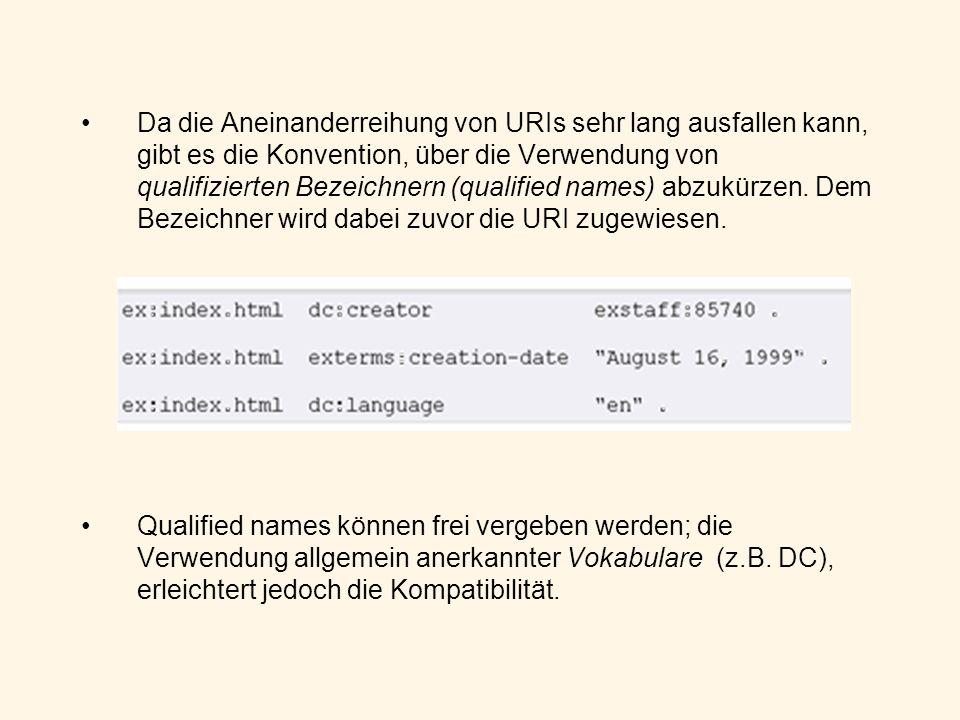 Da die Aneinanderreihung von URIs sehr lang ausfallen kann, gibt es die Konvention, über die Verwendung von qualifizierten Bezeichnern (qualified names) abzukürzen. Dem Bezeichner wird dabei zuvor die URI zugewiesen.